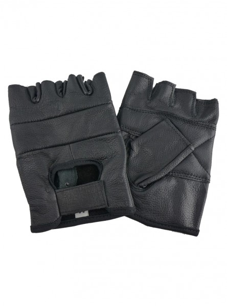 "Gants Mitaines Biker Cuir ""Just Black"" - rockangehell.com"