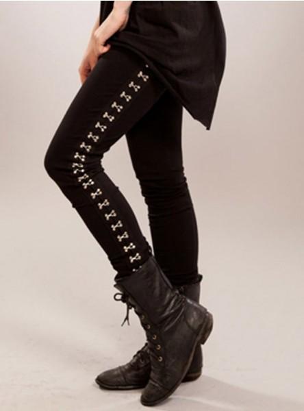 "Legging gothique rock Poizen Industries (Evil Clothing) ""Gromett"""