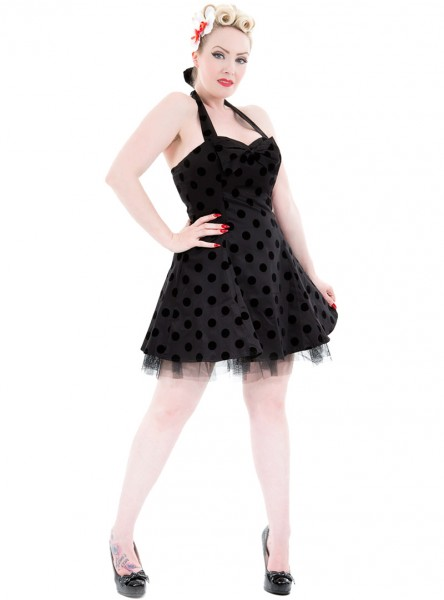 "Robe courte Rockabilly Vintage HR London ""Big Black Dot"" - rockangehell.com"