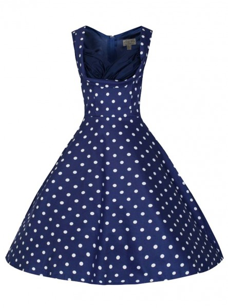 """Robe Pin-up Rockabilly Vintage Lindy Bop """"Ophelia Blue White Dots"""""""
