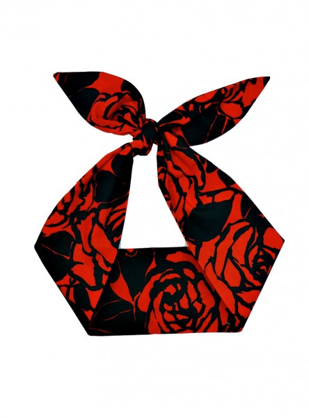 "Foulard Cheveux Pin-Up Rockabilly Retro Rock Ange'Hell ""Red Flowers"" - rockangehell.com"
