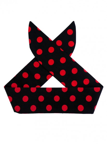 "Foulard Cheveux Rockabilly Retro Vintage Rock Ange'Hell ""Black Big Red Dots"" - rockangehell.com"