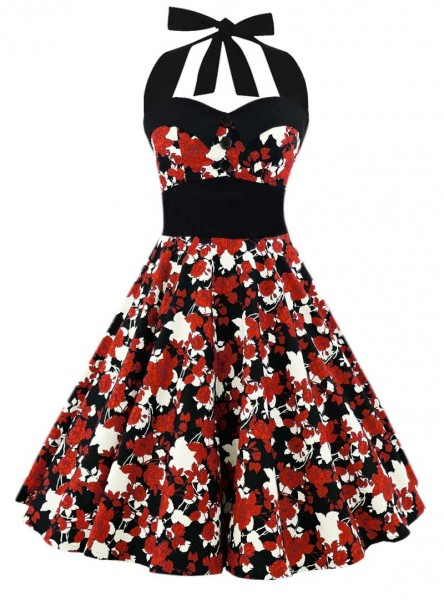 "Robe Pin-Up Vintage Retro Rockabilly Rock Ange'Hell ""Ashley Japan Flowers"" - rockangehell.com"