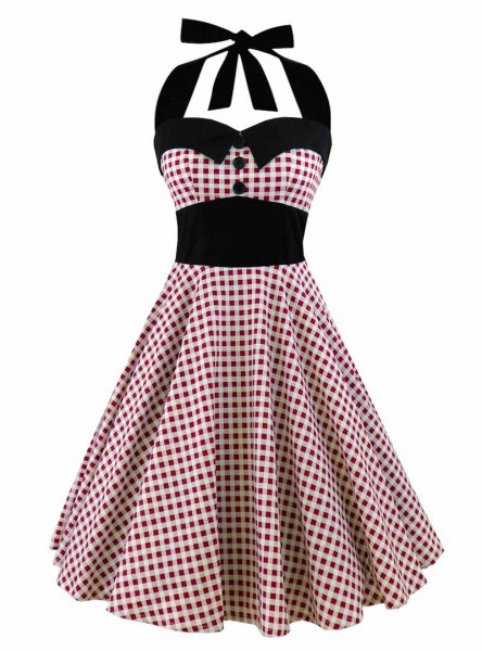 "Robe Pin-Up Années 50 Rockabilly Rock Ange'Hell ""Ashley Red Vichy"" - rockangehell.com"