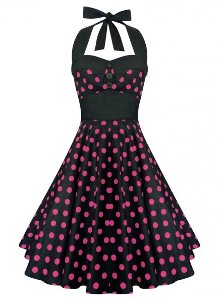 "Robe Pin-Up Rockabilly Vintage Rock Ange'Hell ""Ashley Black Pink Dots"" - rockangehell.com"