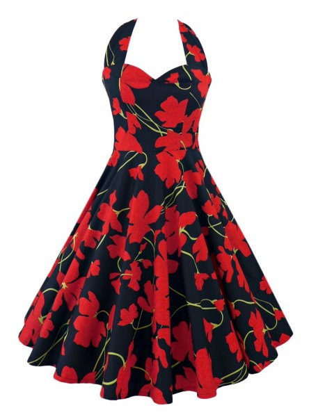"Robe Pin-Up Années 50 Vintage Rock Ange'Hell ""Vivien Black Red Flowers"" - rockangehell.com"