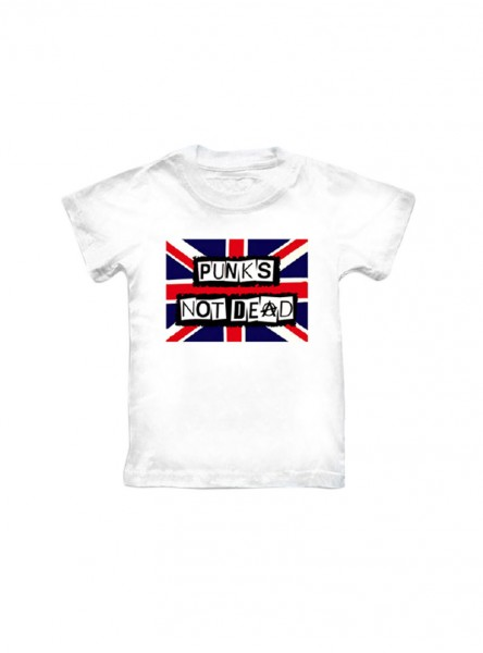 "Tee-shirt blanc punk ENFANT Rock Daddy ""Flag Punks Not Dead"""