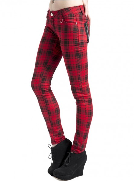 "Pantalon slim écossais rouge punk rock Jawbreaker ""Red Tartan"""