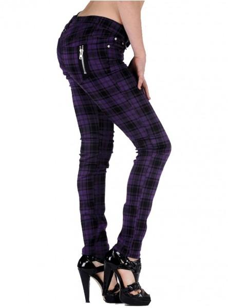 "Pantalon slim écossais violet punk rock Jawbreaker ""Purple Tartan"""
