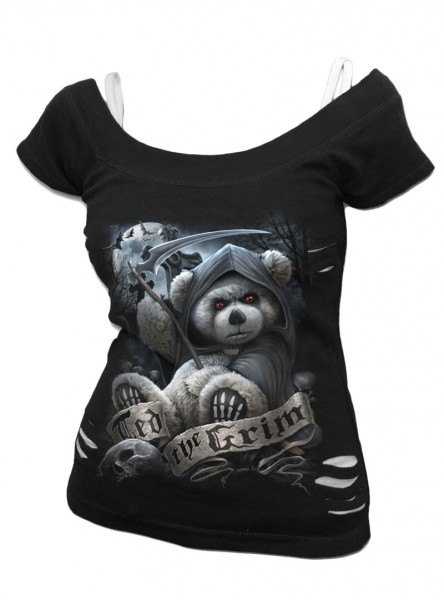 "Débardeur 2 en 1 Gothique Dark Wear Spiral ""Ted The Grim Teddy Bear"" - rockangehell.com"