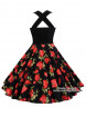 """Robe Rockabilly Vintage Pin-Up Rock Ange'Hell """"Vivien Black Red Roses"""" - rockangehell.com"""