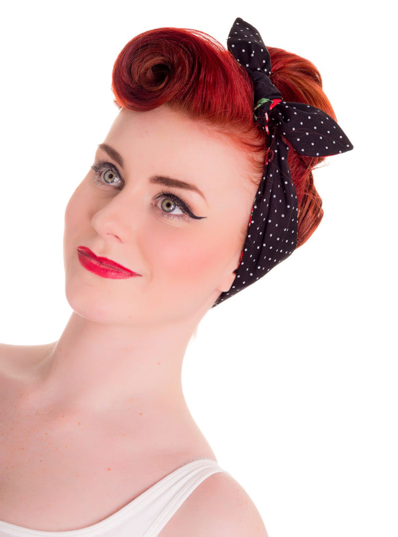 foulard cheveux r versible rockabilly vintage retro hell bunny cherry. Black Bedroom Furniture Sets. Home Design Ideas
