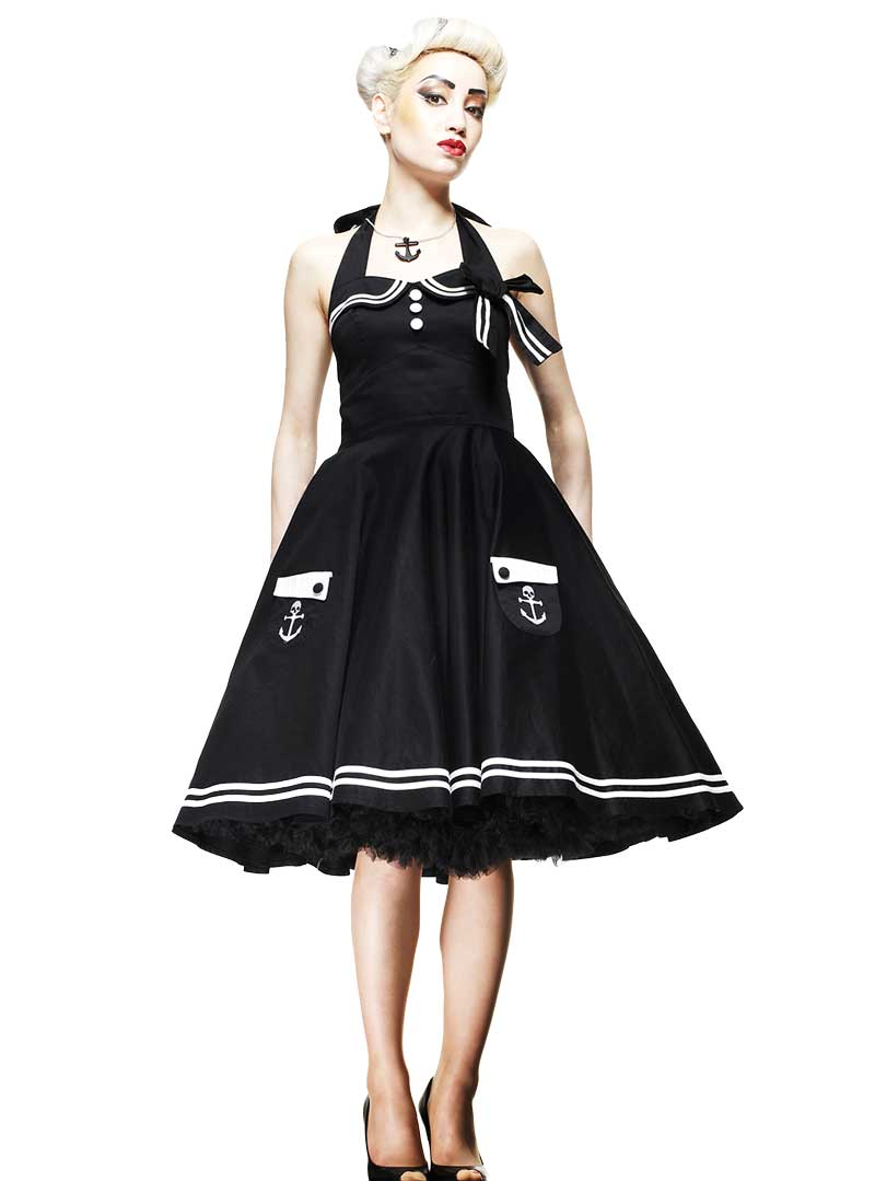 Robe sailor rockabilly vintage ann es 50 39 hell bunny black motley - Robes annees 50 ...