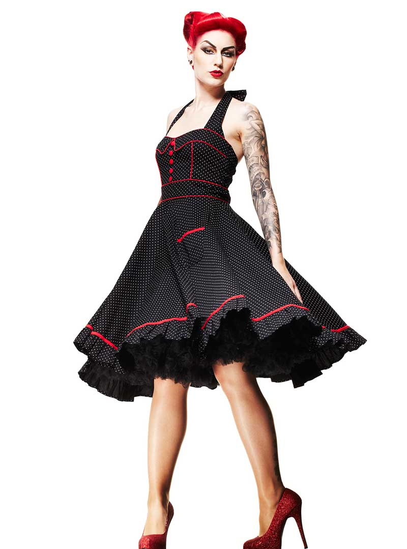 Robe Rockabilly Vintage Années 50 Hell Bunny \u0026quot;Vanity\u0026quot;