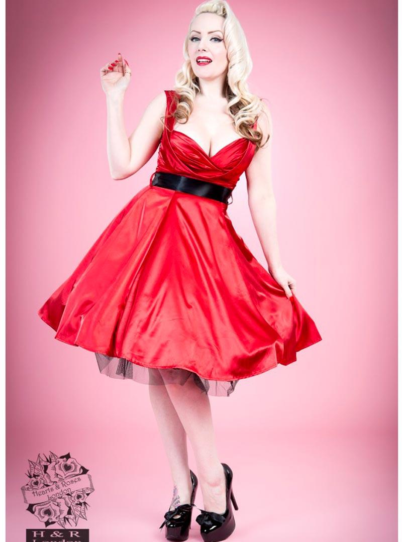 robe pin up rockabilly vintage satin rouge hr london red. Black Bedroom Furniture Sets. Home Design Ideas