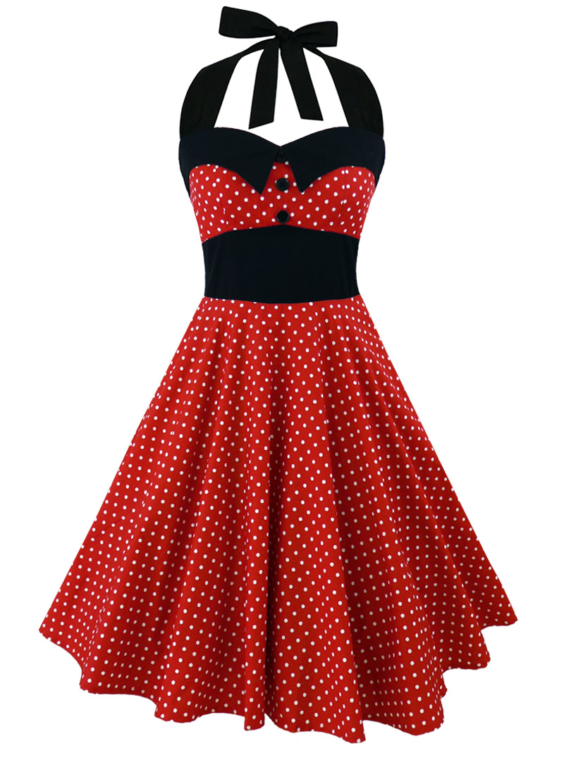 robe rockabilly retro vintage rock ange 39 hell ashley red white small polka dots. Black Bedroom Furniture Sets. Home Design Ideas