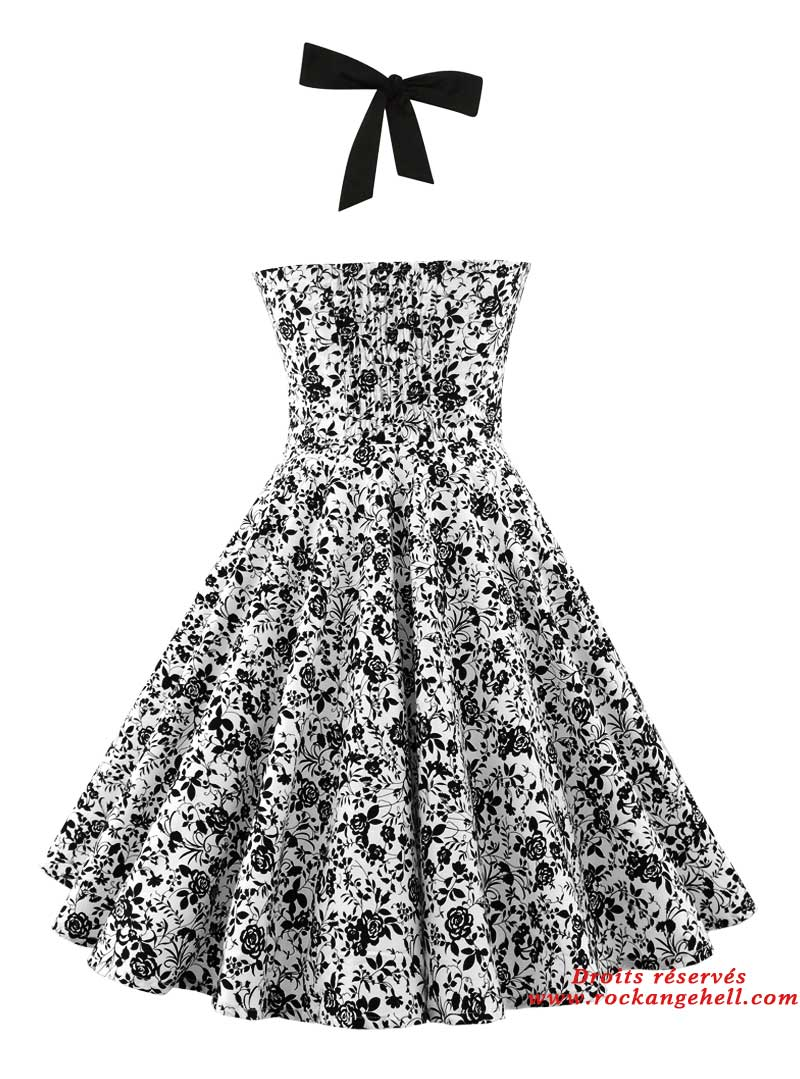 Robe pin up rockabilly ann es 50 rock ange 39 hell ashley black flowers - Pin up annee 40 ...
