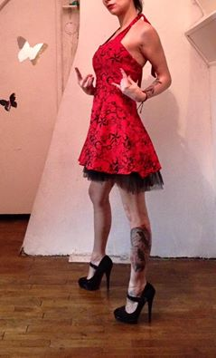 "Robe rockabilly vintage HR London ""Red Flocking Mini Dress"""