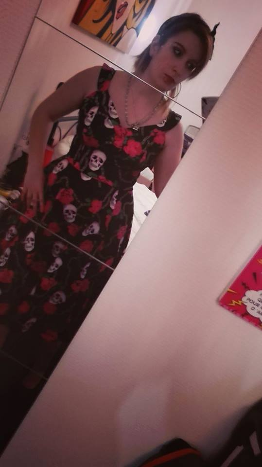 "Robe Vintage Retro Rockabilly Gothique HR London ""Long Skully Pink Roses"""