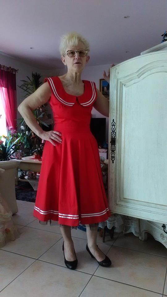 "Robe Sailor Rockabilly Vintage Retro Rouge HR London ""Red Sailor"""