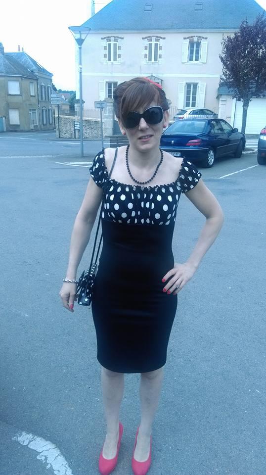 "Robe Pin-Up Retro Vintage Belsira ""Pencil Black White Dots"""