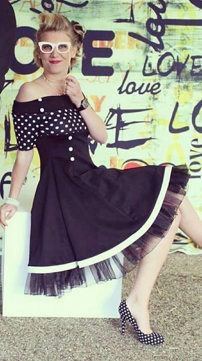 "Robe Pin-Up Rockabilly Retro Belsira ""Black White Dots"""