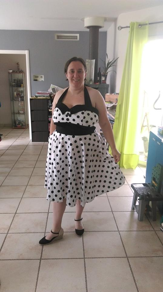 "Robe Rockabilly Vintage Retro ""Ashley White black polka dots"""