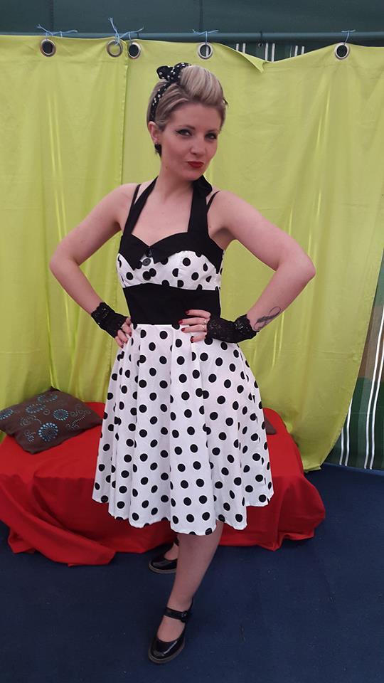 """Robe Rockabilly Vintage Retro """"Ashley White black polka dots"""""""