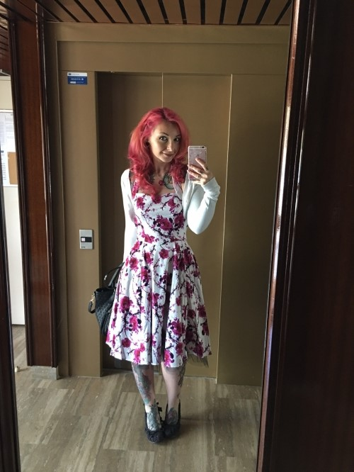 "Robe rockabilly vintage HR London ""Pink Floral"""