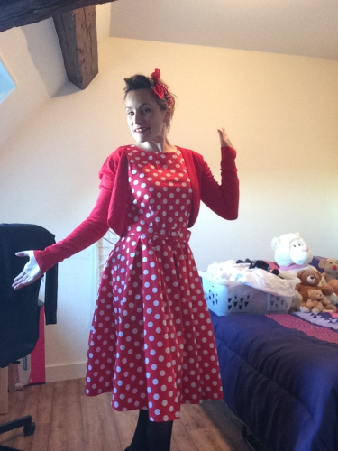 "Robe mi-longue Vintage Pin-Up Rockabilly Dolly And Dotty ""Annie Red Big White Dot"""