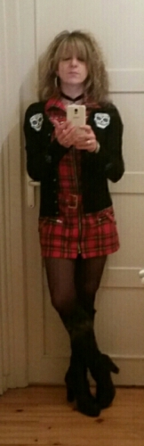 "Robe-tunique punk rock HR London ""Red Tartan Zip Dress"""