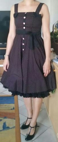 Jupon 60 cm Noir Rockabilly Gothique Vintage Banned