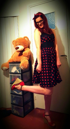 "Robe Vintage Rockabilly Swing ""Ashley Black Red polka dots"""