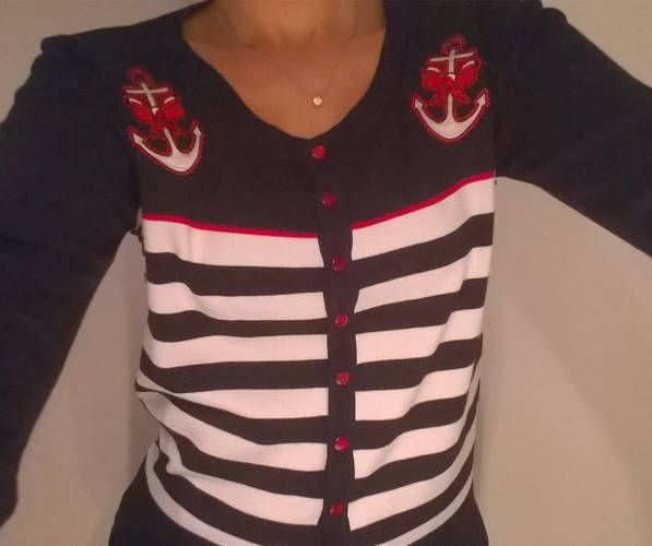 "Gilet Cardigan Sailor Rockabilly Vintage Banned ""Private Party"""