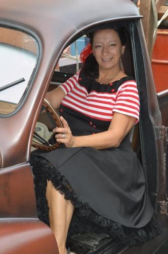 "Robe Retro Vintage Pin-Up Belsira ""White Red Stripes"""