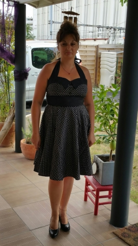 "Robe Retro Vintage Rockabilly ""Ashley Black White mini polka dots"""