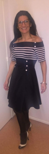 "Robe Rockabilly Retro Vintage Belsira ""Black White Stripes"""