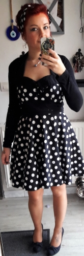 "Robe Rockabilly Vintage Swing ""Ashley Black White polka dots"""