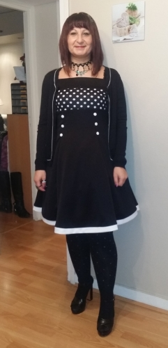 "Robe Pin-Up Rockabilly Retro Belsira ""Black White Dots"""