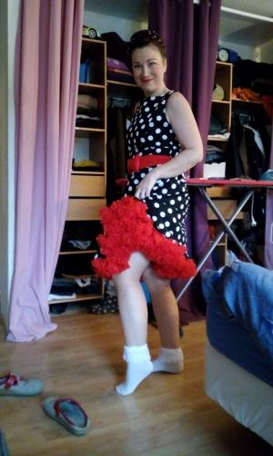 Jupon 52 cm Rouge Rockabilly Gothique Retro Banned