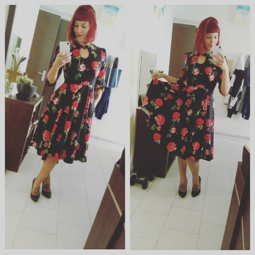 "Robe Pin-Up Rockabilly Vintage HR London ""Black Red Roses"""