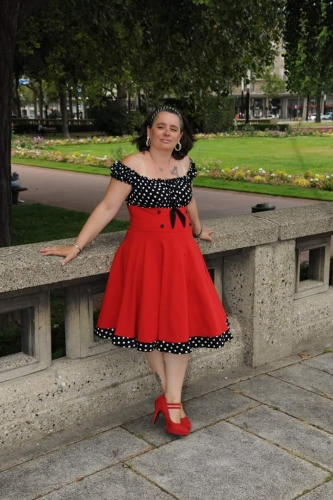 "Robe Années 50 Pin-Up Rockabilly Retro Belsira ""Bella Red"""