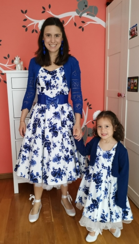 "Robe Rockabilly Vintage Retro HR London ""Blue Flowers"""
