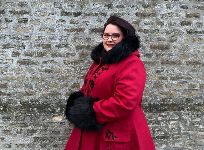"""Manteau Pin-Up Rockabilly Lolita Hell Bunny """"Anderson Red Burgundy"""""""
