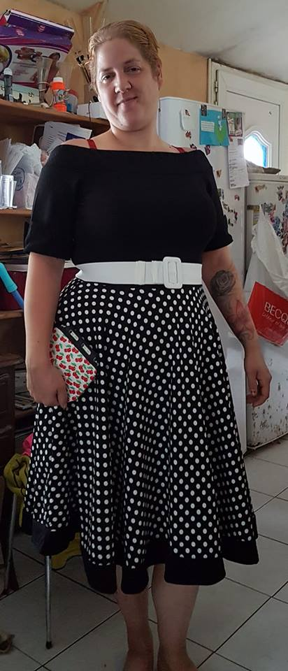 "Robe Rockabilly Pin-Up Retro Années 50 Belsira ""Black White Dots"""