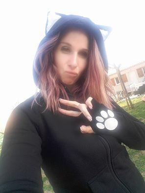 "Sweat Chat Rock Gothique Kawaii ""White Cat"""