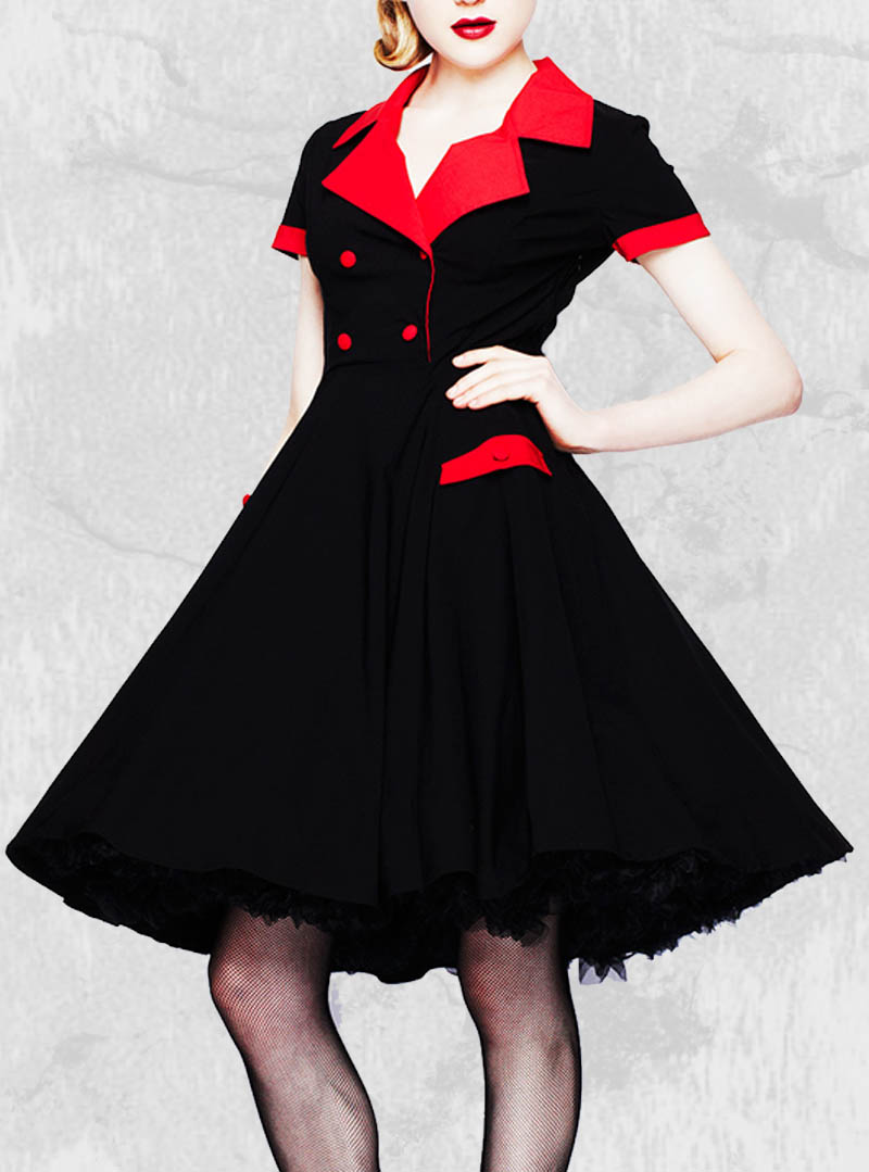 Robe Fourreau Style Vintage Annees 50 Noire Tatouage Cerise Rockabilly ...