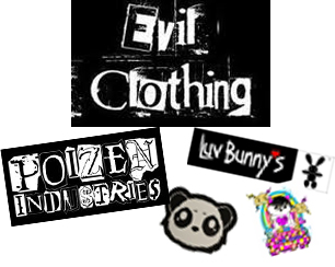 Evil Clothing, Poizen Industries, Luv Bunny's, Cupcake Cult, Killer Panda